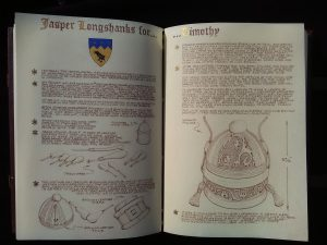 two pages from Jasper Longshanks detailing his leather inkwell box